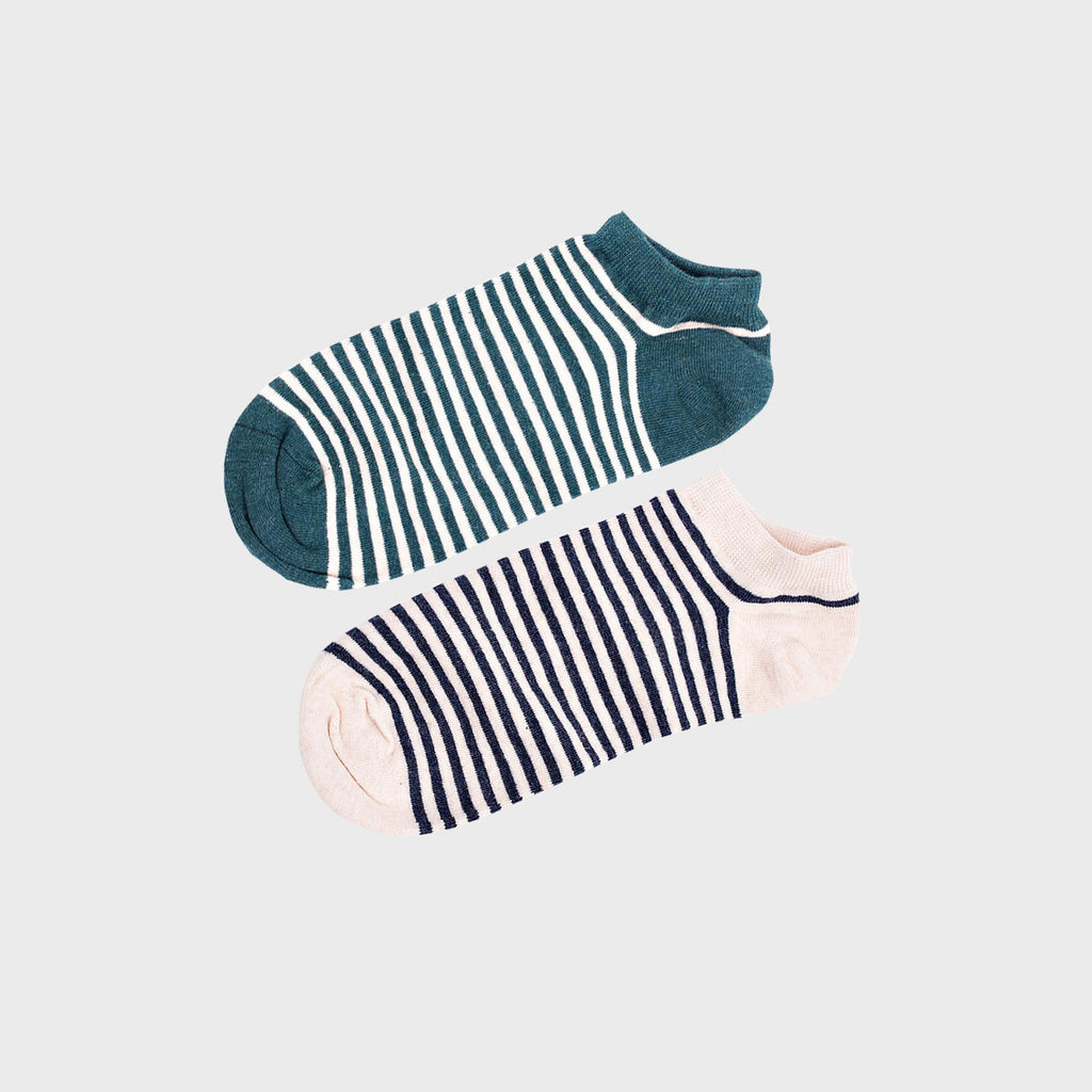 Beige and Green Striped Ankle Socks (2 Pairs)