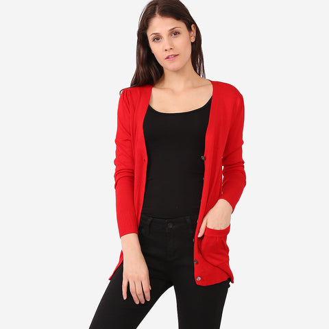Red Button Cardigan