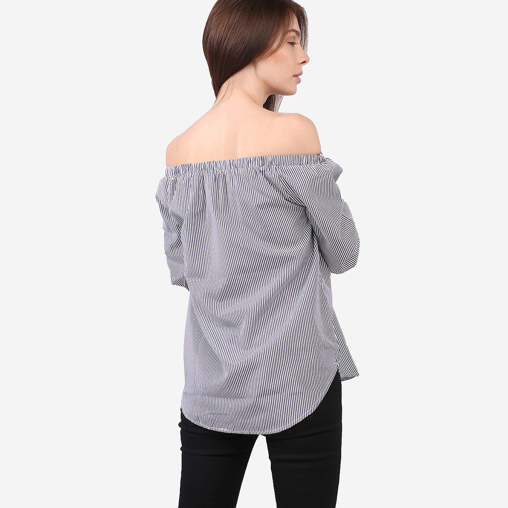 Navy Line Off Shoulder Top