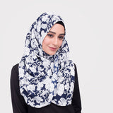 Prussian Blue Floral Shawl