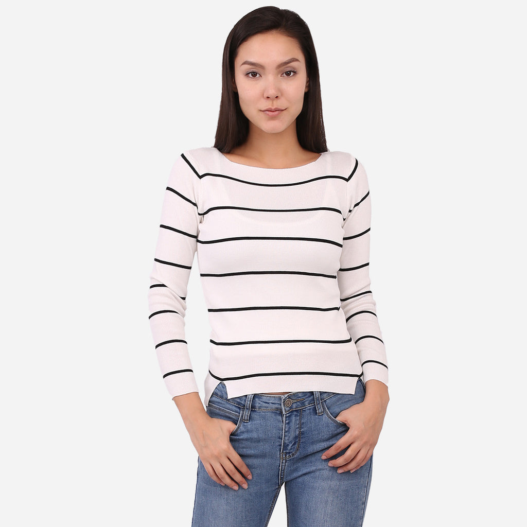 White Boatneck Striped Knit Top