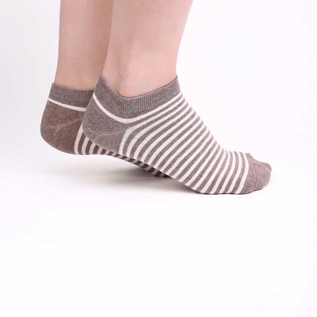 Brown and Beige Striped Ankle Socks (2 Pairs)