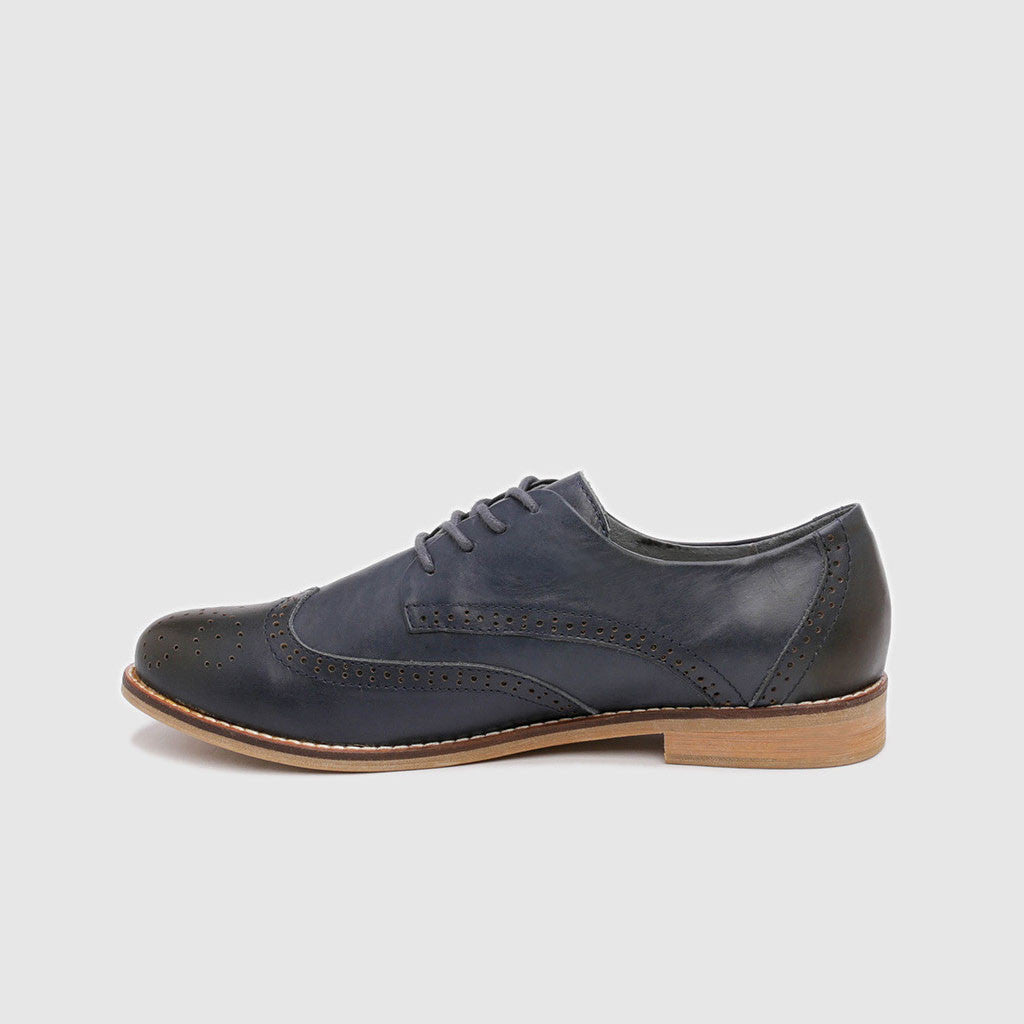 Women's Oxford in Blue Leather