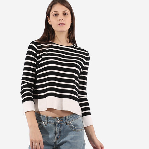 Black Stripe Knit Top