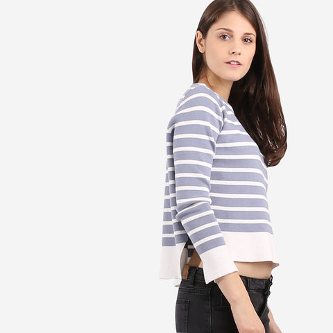 Blue Stripe Knit Top