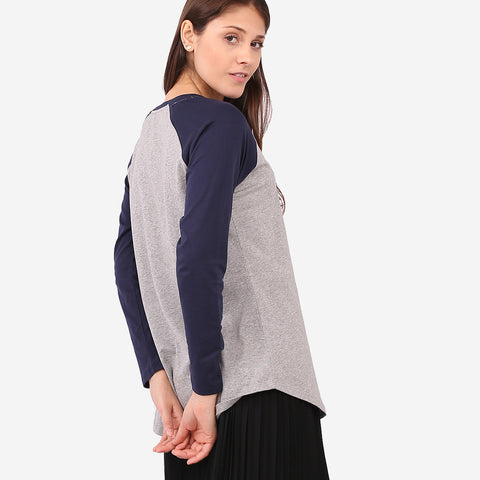 Dark Blue and Grey Hanna Raglan