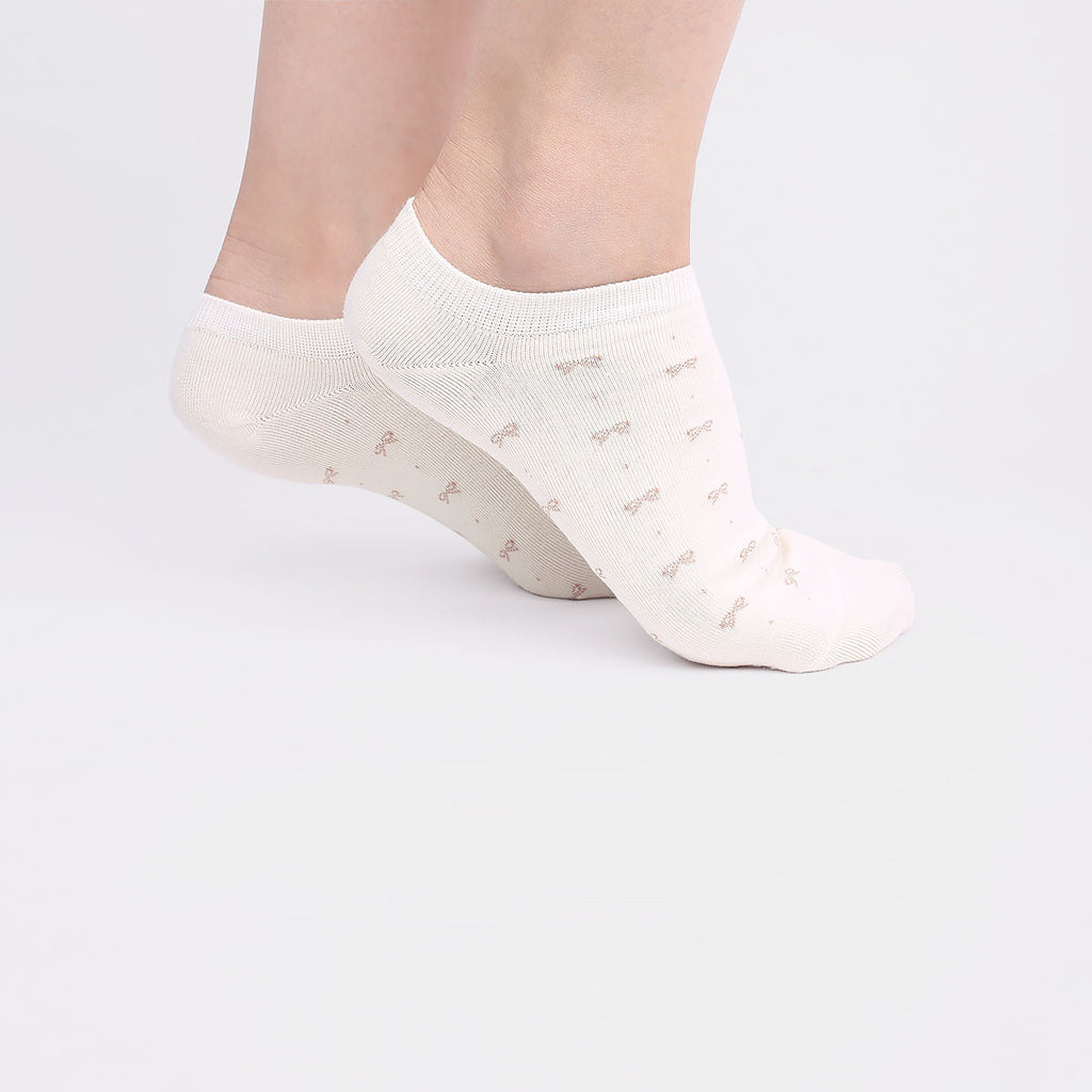 Grey and White Ribbon Ankle Socks (2 Pairs)