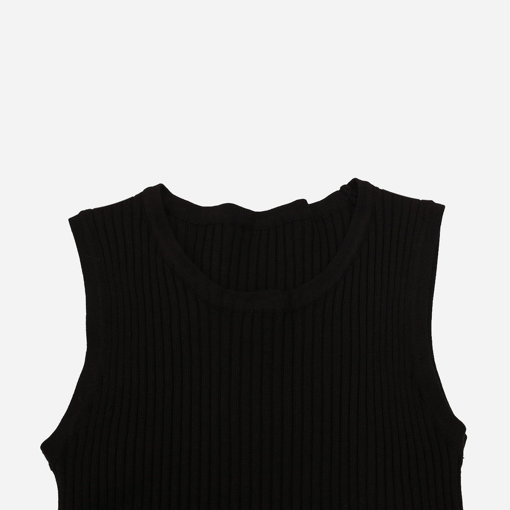 Black Cropped Knit Tank Top