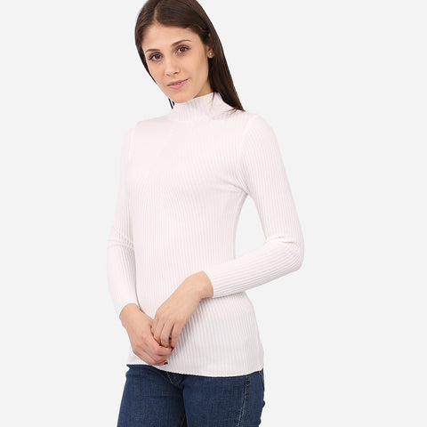 Valerie White Knitted Turtleneck Top