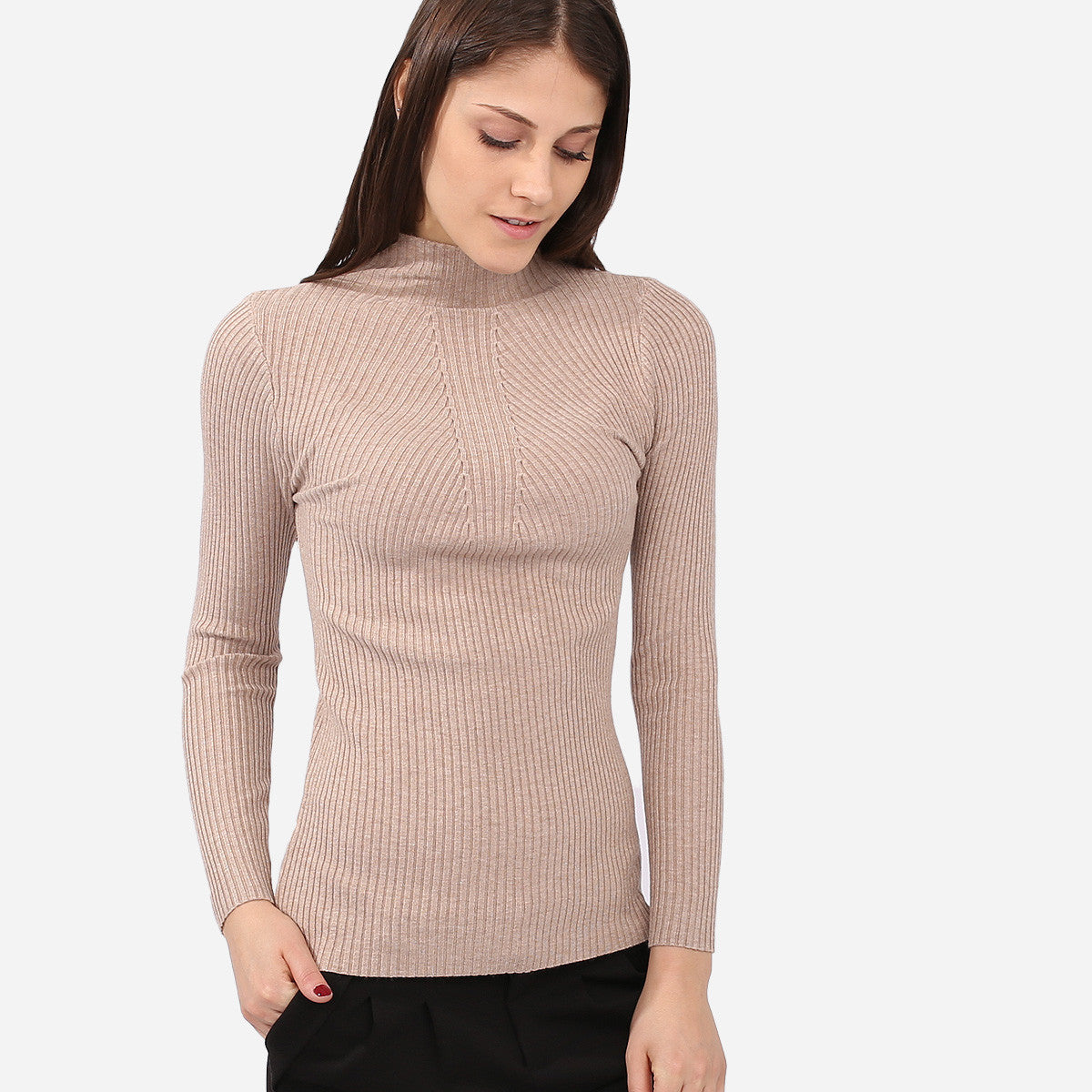 Valerie Beige Knitted Turtleneck Top