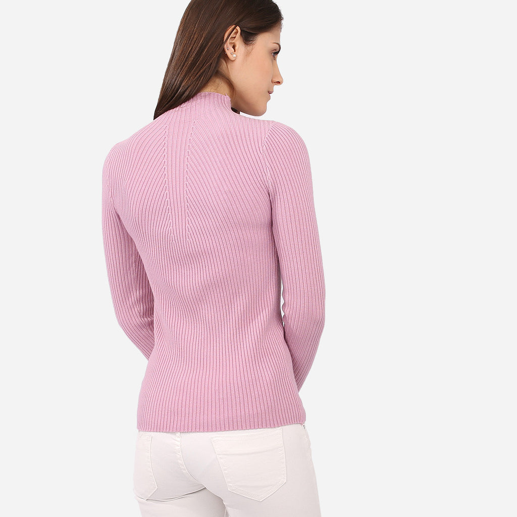 Valerie Purple Knitted Turtleneck Top