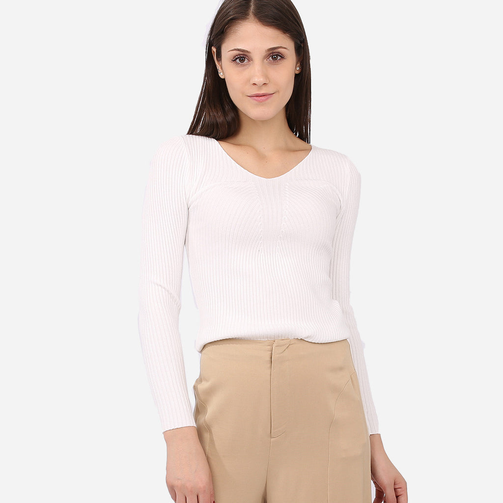 Vanesa White Knitted Top