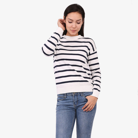 Navy Knit Stripe Jumper