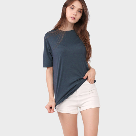 Green Melange Short Sleeve Top