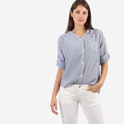 Grey Striped Blouse With Pocket