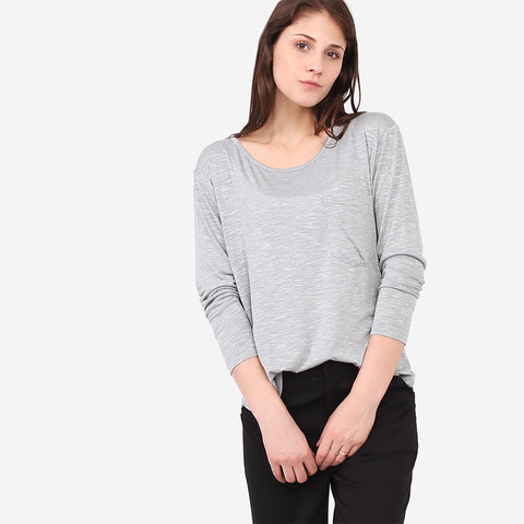 Grey Soft Knit Melange Pocket Tee