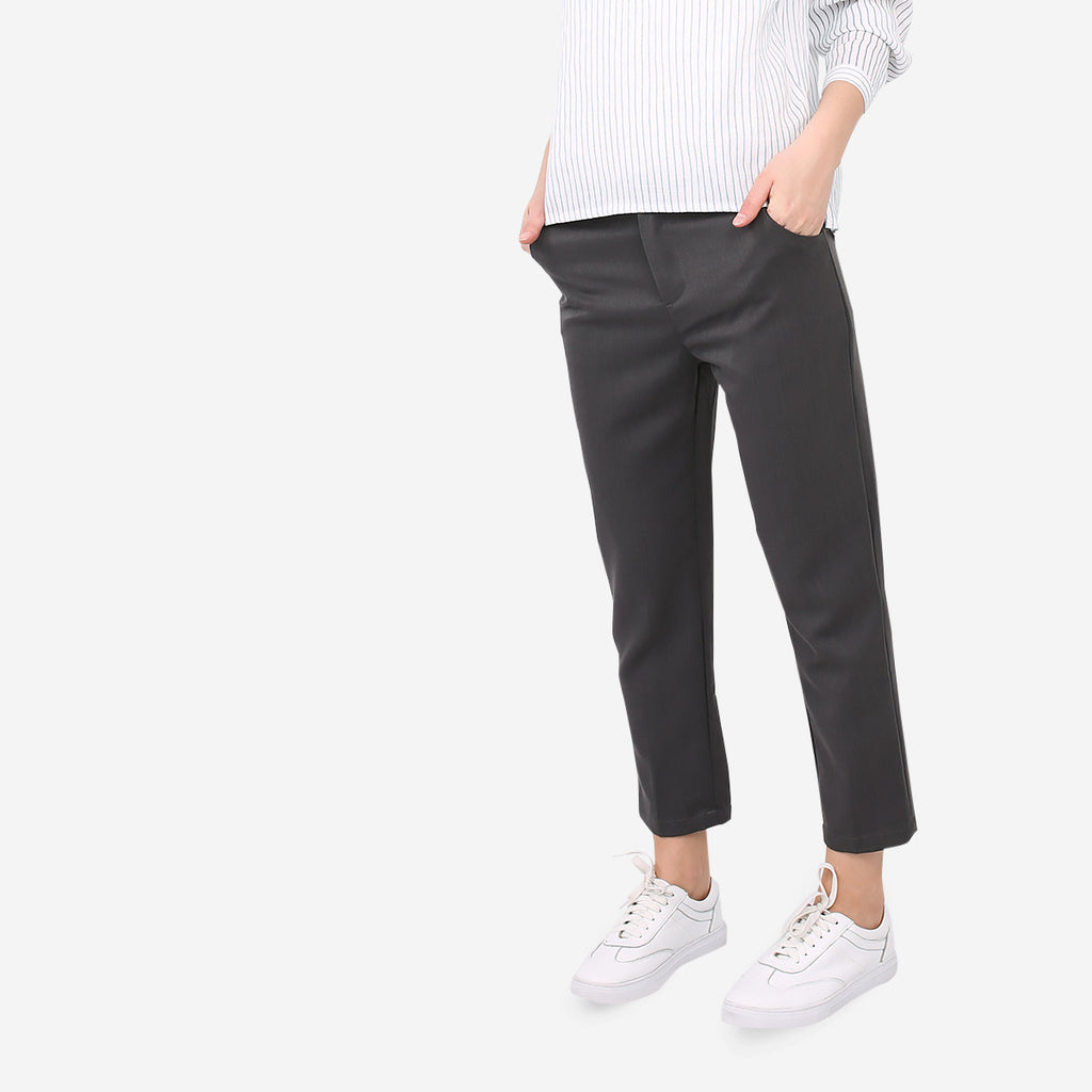 Grey Tailored Straight Cut Pants