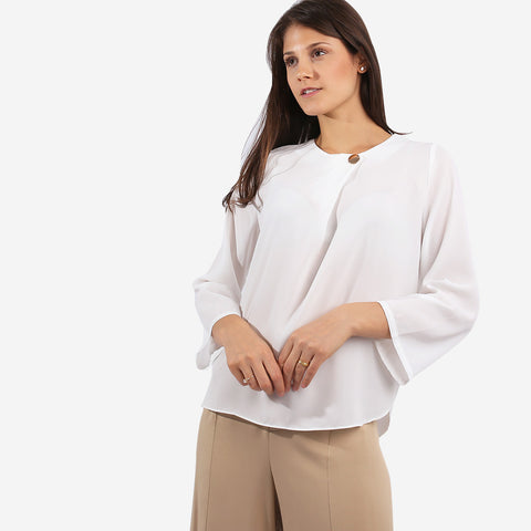 White Top with Button Detail