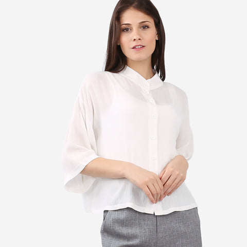 White Relaxed Short Sleeve Blouse