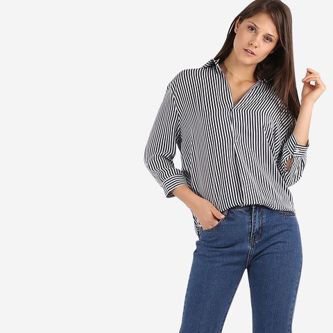 Blue Stripe V Neck Blouse