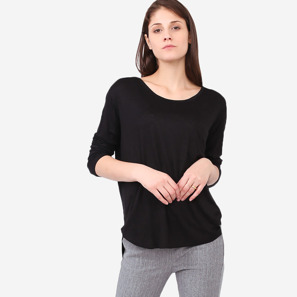Black Soft Knit Melange Pocket Tee