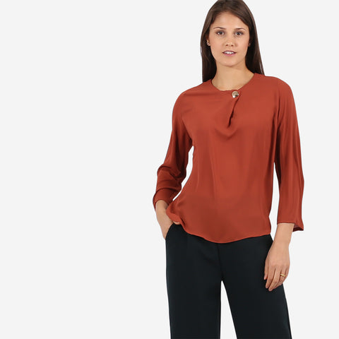 Brown Top with Button Detail
