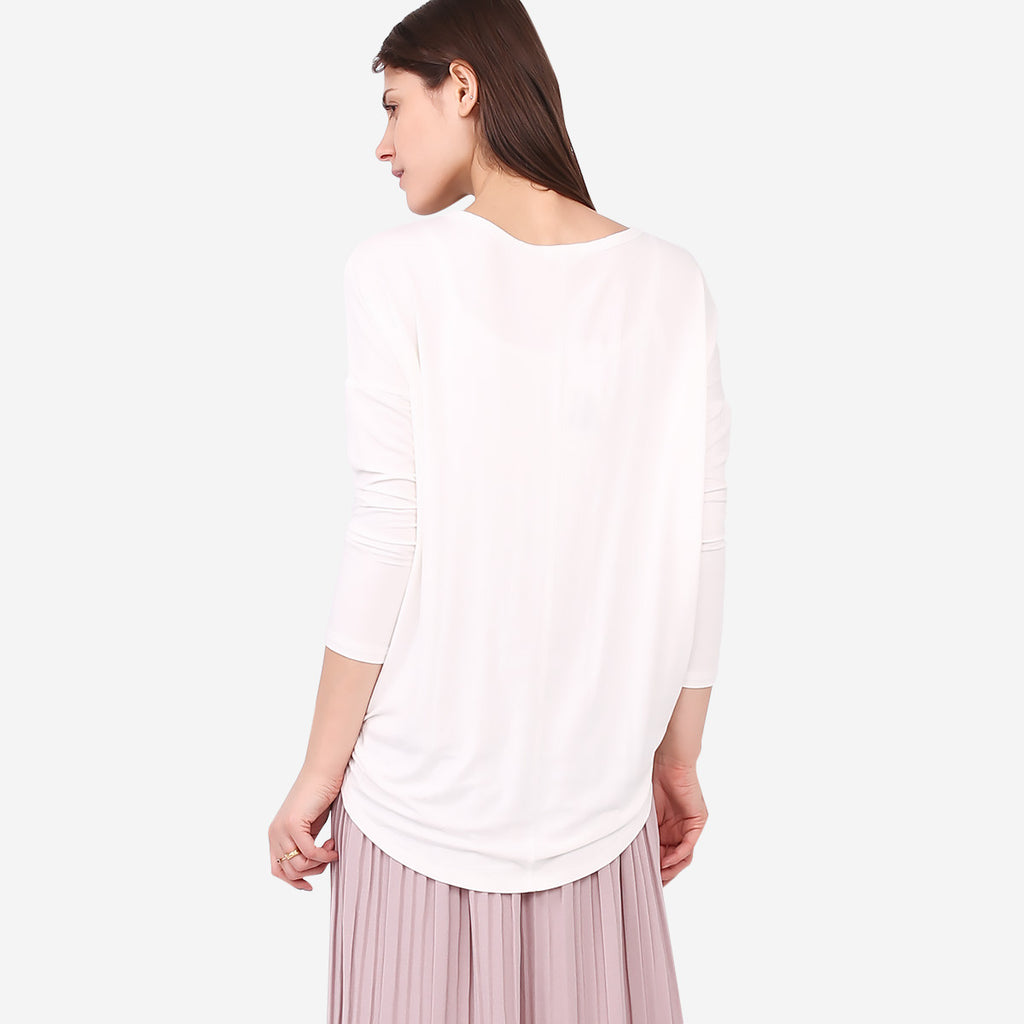 White Loose Roundneck Top