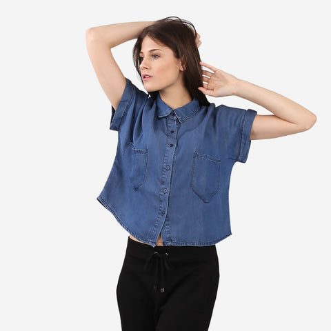 Tencel Denim Boxy Cropped Top