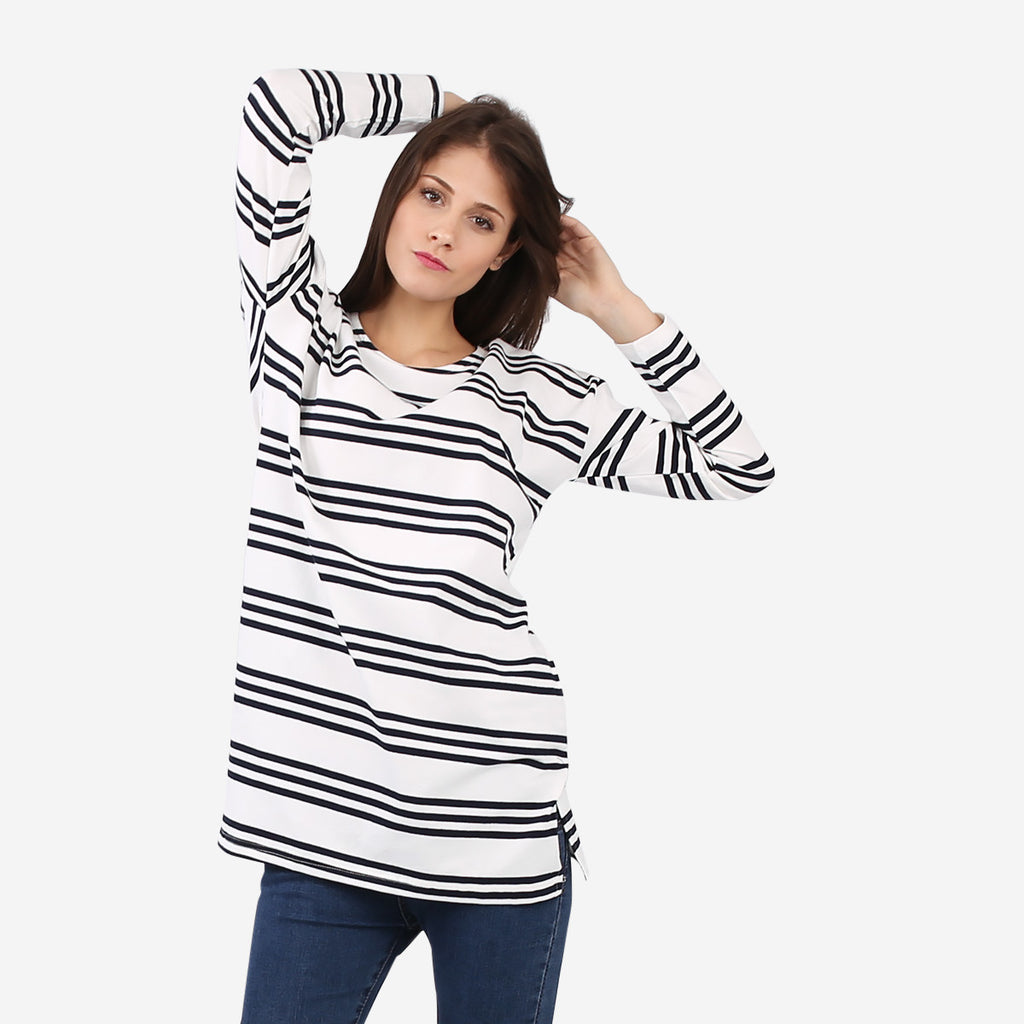 Black Striped Tunic with Pockets