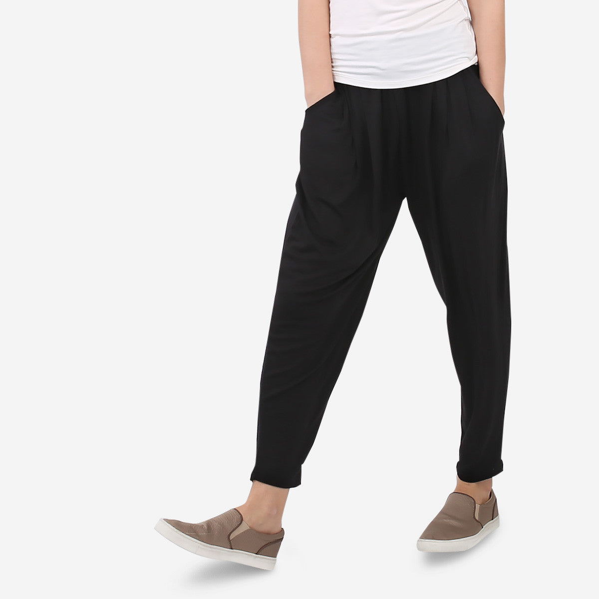 Black Soft Jersey Relaxed Pants