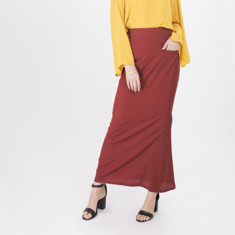 Dalila Brown Pencil Skirt
