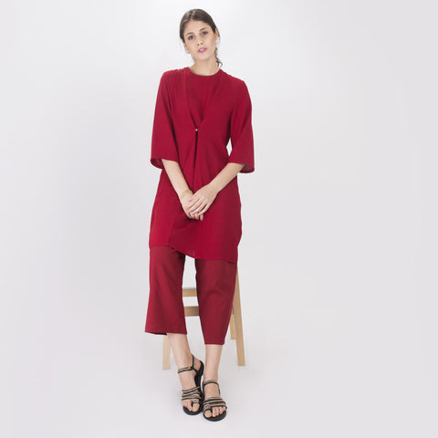 Vanida Red Long Blouse