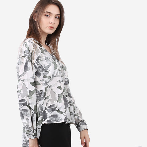 Watercolour Printed Leaf Top