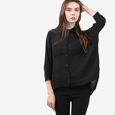 Black Twin Pocket Chiffon Blouse