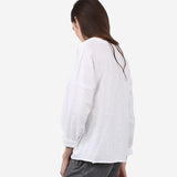 White Seam Details Long Sleeve Cotton Tee