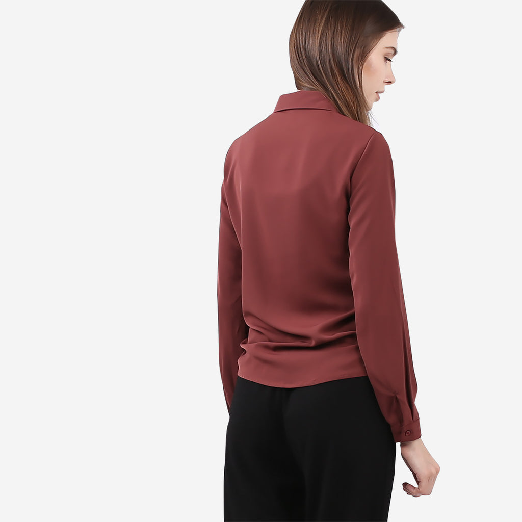 Maroon Double Front Flap Blouse