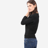 Black Bateau Neckline Crop Knit Top