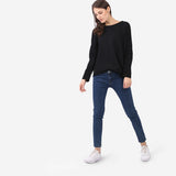 Black Seam Details Long Sleeve Cotton Tee