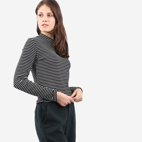 Turtleneck Stripe Tee