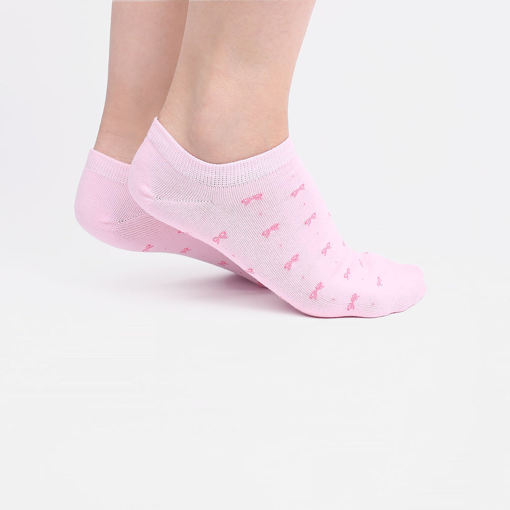 White and Pink Ribbon Ankle Socks (2 Pairs)