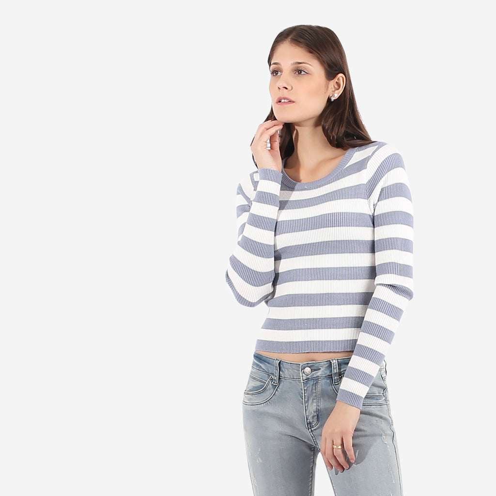 Blue Striped Knit Top