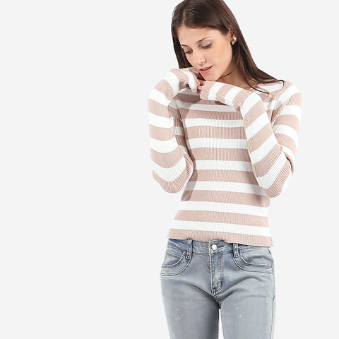 Beige Striped Knit Top