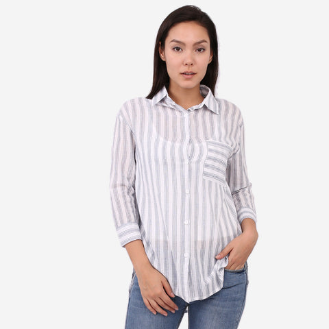 Navy Crepe Stripe Top