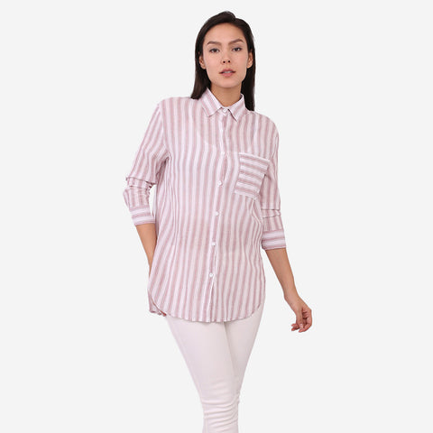 Pink Crepe Stripe Top
