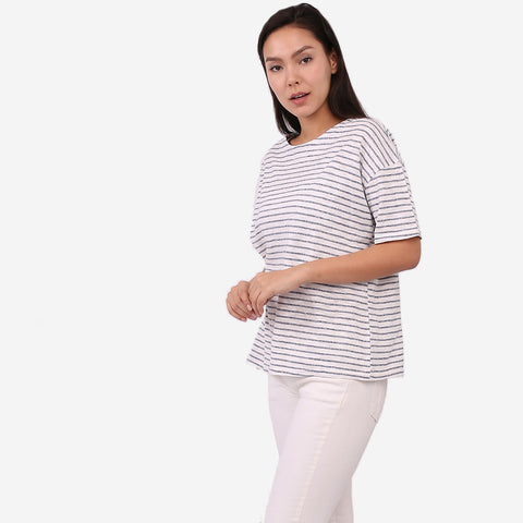 Navy Loose Stripe Tee