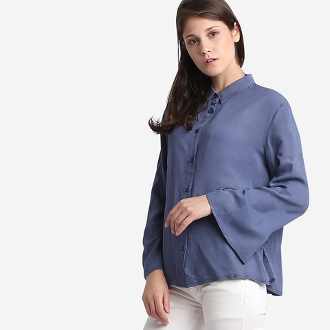 Blue Flared Sleeve Blouse