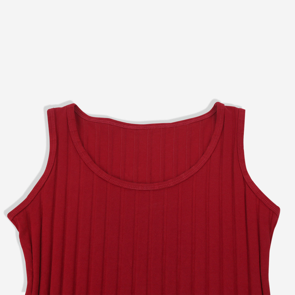 Red Ribbed Tank