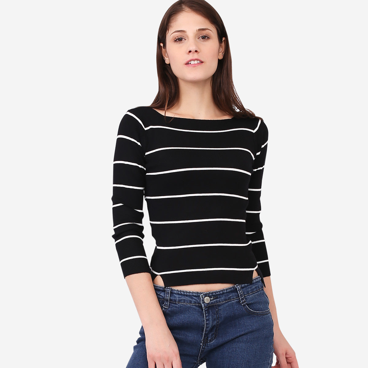 Black Boatneck Striped Knit Top