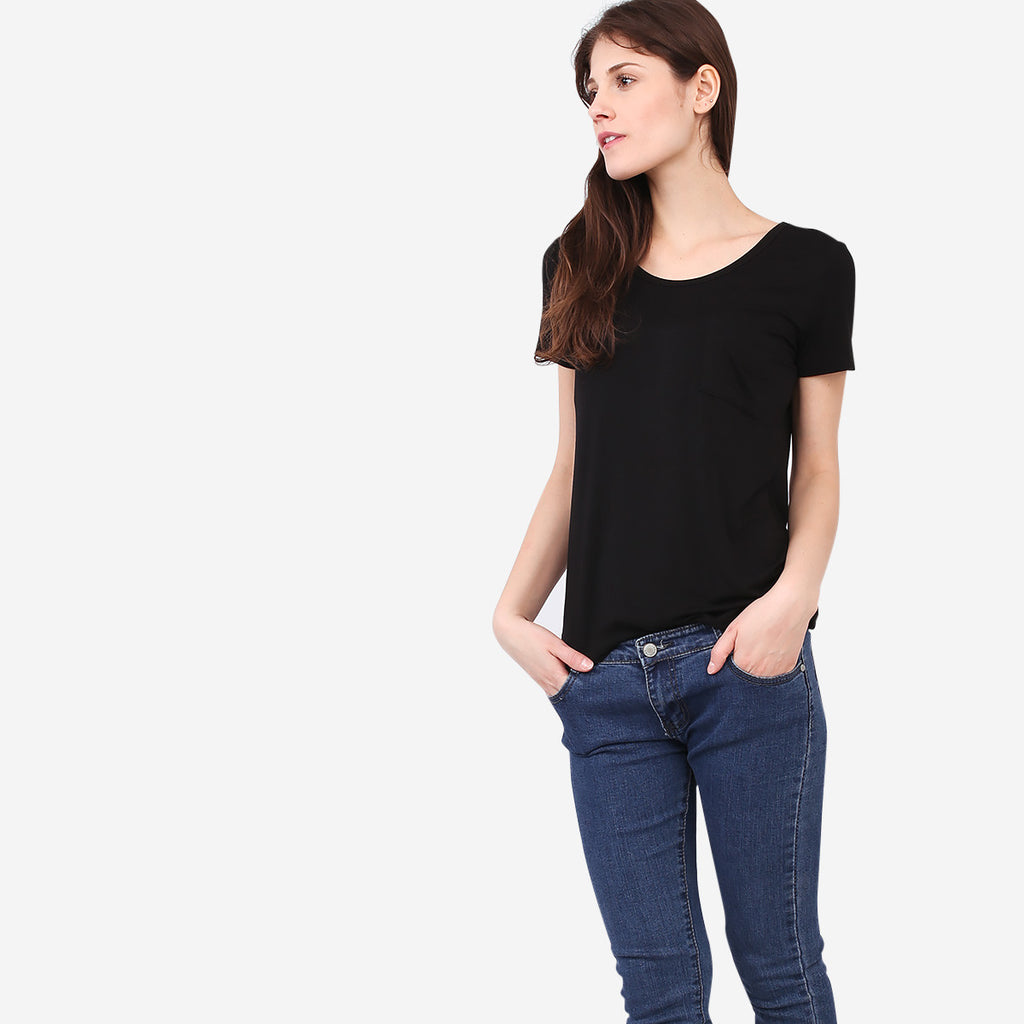 Black Roundneck Pocket Tee