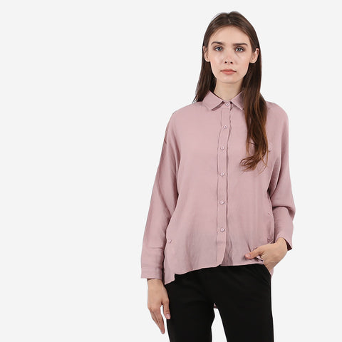 Rose Pink Side Button Hem Top